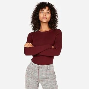 EXPRESS Fitted Crew Neck Sweater - Red Wine